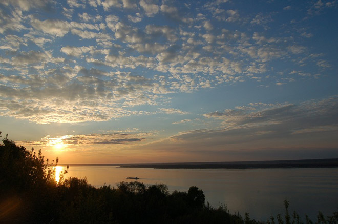 Река Волга, закат, пейзаж
